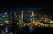 View at Singapore City Skyline, night landscape, Marina Bay