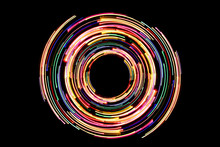 Abstract Neon Circle Lines Wit...