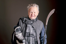 Old Senior Sporty Male With Hockey Equipment B