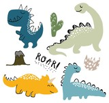 Fototapeta Dinusie - childish dinosaur vector set for fashion clothes, fabric, t shirts. hand drawn vector with lettering