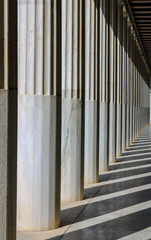 Columns in the sun on the ancient agora, Athens, greece