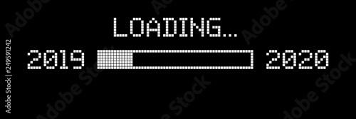 Fotografía  Pixelated progress bar showing loading of 2020