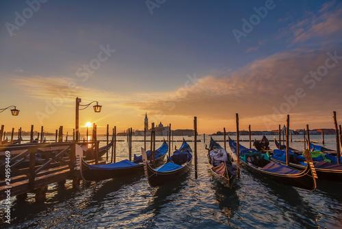 Staande foto Venice Venice sunrise and Venice gondolas on San Marco square at sunrise, Grand Canal, Venice, Italy