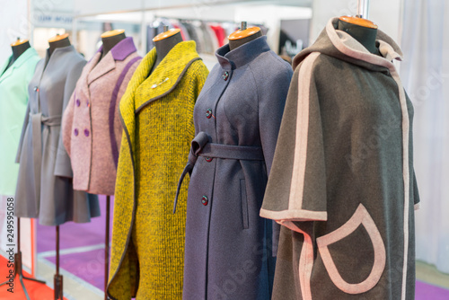 Women's coat in the store Canvas Print