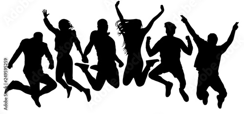 Photo Jumping friends youth background