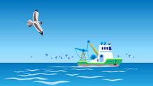 Trawler Ship In Heart Of Open ...
