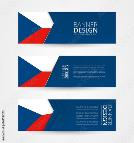 Fotografie, Obraz  Set of three horizontal banners with flag of Czech Republic