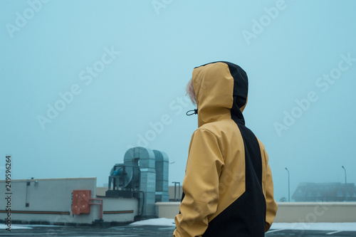 Teen in a yellow jacket Canvas Print