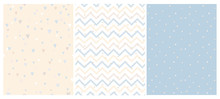Set Of 3 Bright Delicate Chevron, Hearts And Dots Vector Patterns. Irregular Tiny Dots Pattern. Hand Drawn Chevron Designs. White, Yellow, Beige And Blue Pastel Design. Cute Nursery Art Patterns.