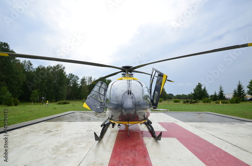 Türaufkleber Hubschrauber Medevac - Rescue helicopter landed on the landing field, helipad