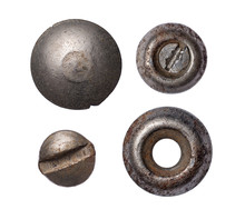 Set Of Old Rusty Metal Rivet And Screw Heads