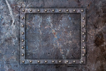 Grunge Rusty Metal Texture Background With Rivets