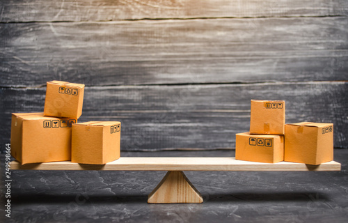 Two piles of boxes on the scales Wallpaper Mural