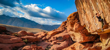Man Climbs Red Rock Canyon In Nevada