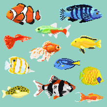 Big Set Of Pixel Exotic Fish Isolated On A Blue Background.