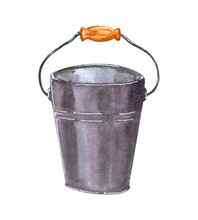 Metallic Bucket With Wooden Handle, Hand Drawn Watercolor Illustration Isolated On White