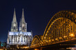 Cologne skyline with Cologne Cathedral and Hohenzollern bridge at night