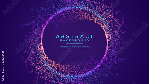 Fotografie, Obraz  Dynamic abstract liquid flow particles background