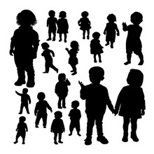 Toddler Gesture Silhouettes. Good Use For Symbol, Logo, Web Icon, Mascot, Sign, Or Any Design You Want.