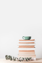 Stack Of Books And Eucalyptus ...