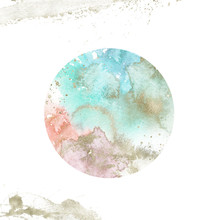 Watercolor Textured Planet - Round Composition With Gold Brush Stroke. Unique Collection For Wedding Invites Decoration, Logo And Many Other Concept Ideas.