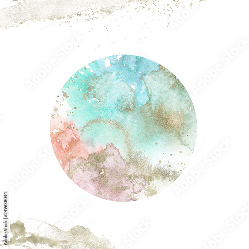 Watercolor Textured Planet - round composition with gold brush stroke Wallpaper Mural