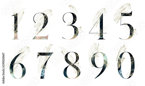 Fototapeta Abstract Numbers Font Set - textured digits 1, 2, 3, 4, 5, 6, 7, 8, 9, 0 composition with brush strokes. Unique collection for wedding invites decoration & many other concept ideas. obraz