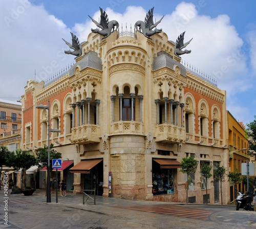 Ceuta, Spain. Casa de los Dragones or House of the Dragons is an landmark in the Spanish exclave of Ceuta on the north coast of Africa, and an extraordinary eclectic architecture.
