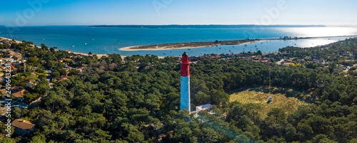 Aerial wiev, Lighthouse of Cap Ferret in Arcachon bay Wallpaper Mural