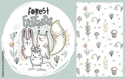 Fototapeten Künstlich Vector set of cute hand drawn forest animals and seamless pattern