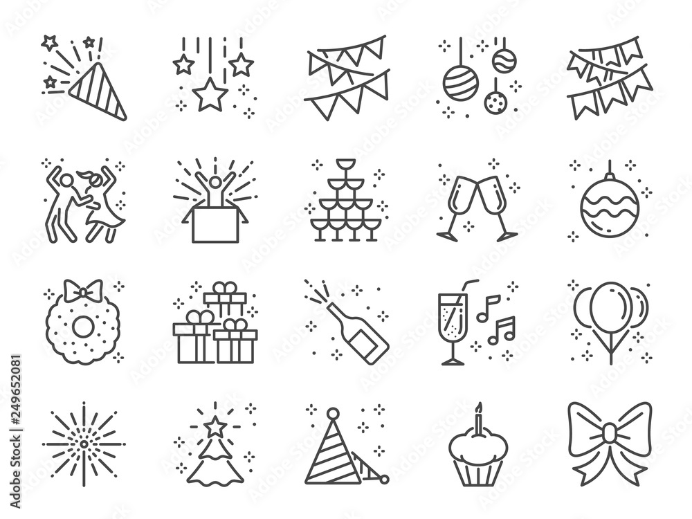 Fototapeta Party line icon set. Included icons as celebrate, celebration, dancing, music, congrats and more.