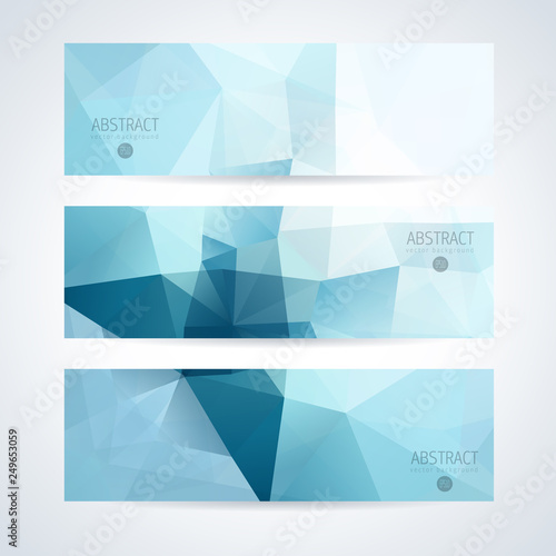 Fototapeta Vector banners set abstract triangle background obraz