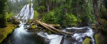 Waterfall Mountain View Close Up. Mountain River Waterfall Landscape. River Scene. Forest Waterfall View. Waterfall Forest Mossy Rocks. Summer Forest Stream View. Beautiful Landscape Concept