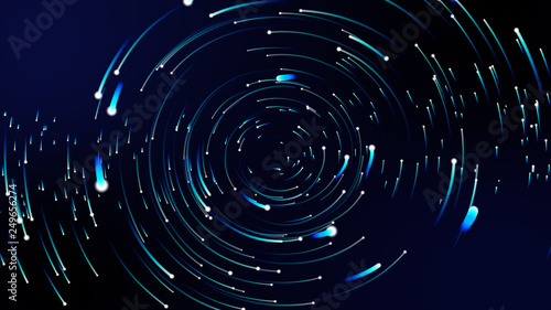 Obraz Simulation of galaxy light motion of stars in dark background, future energy and data technology of cyber programming concept in blue theme for presentation abstract background used. - fototapety do salonu