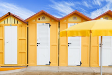 Yellow Beach Huts On Adriatic ...