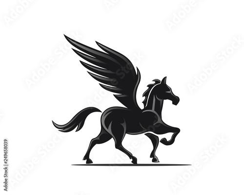 Elegant stand pegasus logo design inspiration Fototapeta