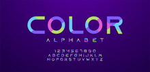 Colorful Letters And Numbers Font Set. Minimal Colored Alphabet, Typography Modern Color Design Concept. Vector Illustration