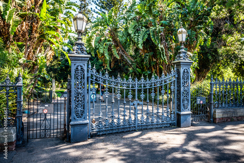Adelaide botanic garden south Main gate entrance with old iron gate in Adelaide Australia