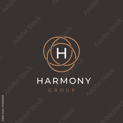 b4517a238 Premium letter H logo design. Luxury linear circle monogram abstract ...