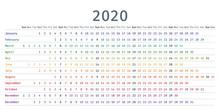 2020 Calendar Linear. Vector. ...