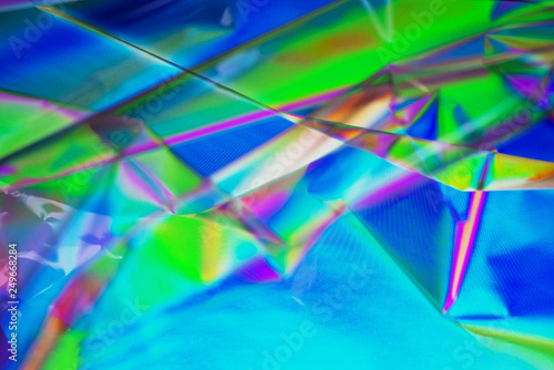 Fototapety, obrazy: Retro synth wave, Abstract background in neon colors, cross polarization. Trend concept 2019 colors plastic pink, ufo green, proton purple. Creative background for your project