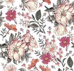 Fototapeta Na meble Seamless pattern. Realistic blooming isolated flowers Vintage fabric background. Beautiful Rosehip chamomile croton wildflowers. Wallpaper baroque. Drawing engraving. Vector victorian Illustration