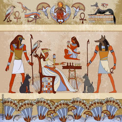 Obraz na płótnie Murals ancient Egypt scene mythology