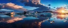 Sunrise In Jokulsarlon. Icelan...