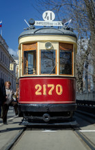 MOSCOW, RUSSIA - APRIL 21, 2018: Retro Trams Goes To The Parade On The Empty Old City Street Of Moscow, Russia, April 21, 2018.