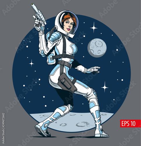 Sexy astronaut girl with blaster gun Poster Mural XXL