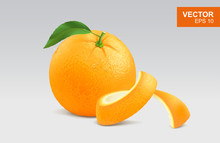 Realistic Whole Orange Vector Clipart, Icon, Mockup With Green Leaf And Water Drop