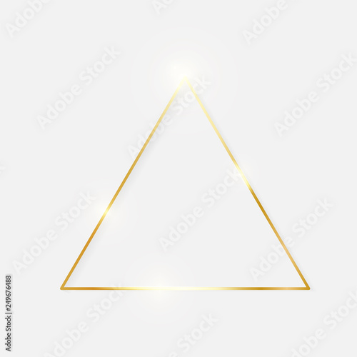 Obraz na plátně Gold shiny glowing vintage triangle frame with shadows isolated on white background