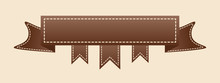 Embroidered Flat Style Brown Ribbon Isolated On Ivory Background. Brown Fabric Vintage Tape. Template For Banner, Award, Sale, Icon, Logo, Label, Poster Etc. Vector Illustration