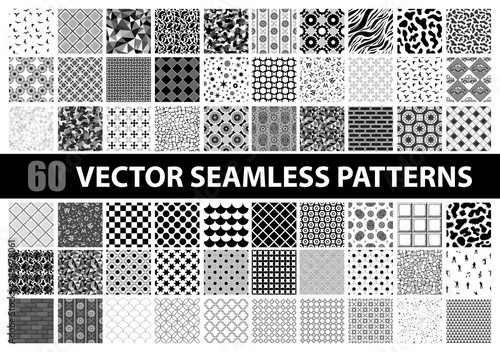 Poster Kunstmatig Mega pack of 60 black and white vector seamless detailed patterns: abstract, vintage, retro, animals, cloth, technology and geometric. Vector illustration